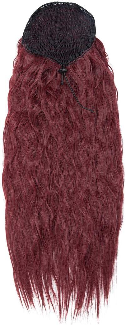 Extensión de cola de caballo rizada larga Extensiones de cabello de cola de caballo con cordón ondulado de maíz Piezas de cabello para mujeres Vino rojo