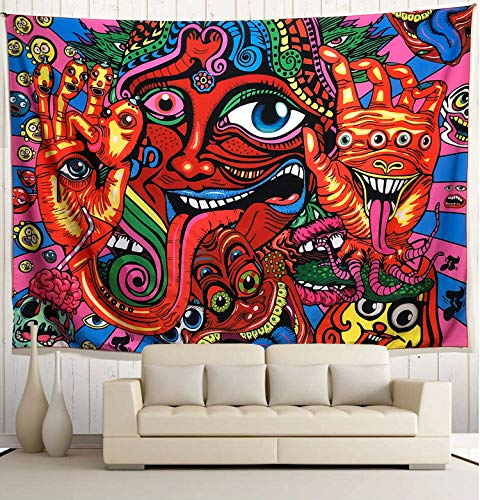 "Wekymuu Colorful Psychedelic Tapestry Trippy Arabesque Tapestry Tapestry Abstract Retro Tapestry Hippie Tapestry Wall Hanging Monster Eyes Wall Tapestry (Grimace, 59""x 78.7"")"