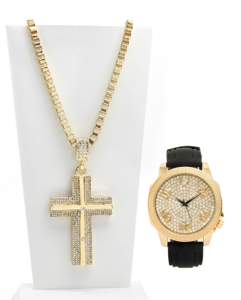 Bling-ed Out Gold Tone Rubber Watch with Matching Iced Out Cross Pendent Necklace - 8423M40 Gold