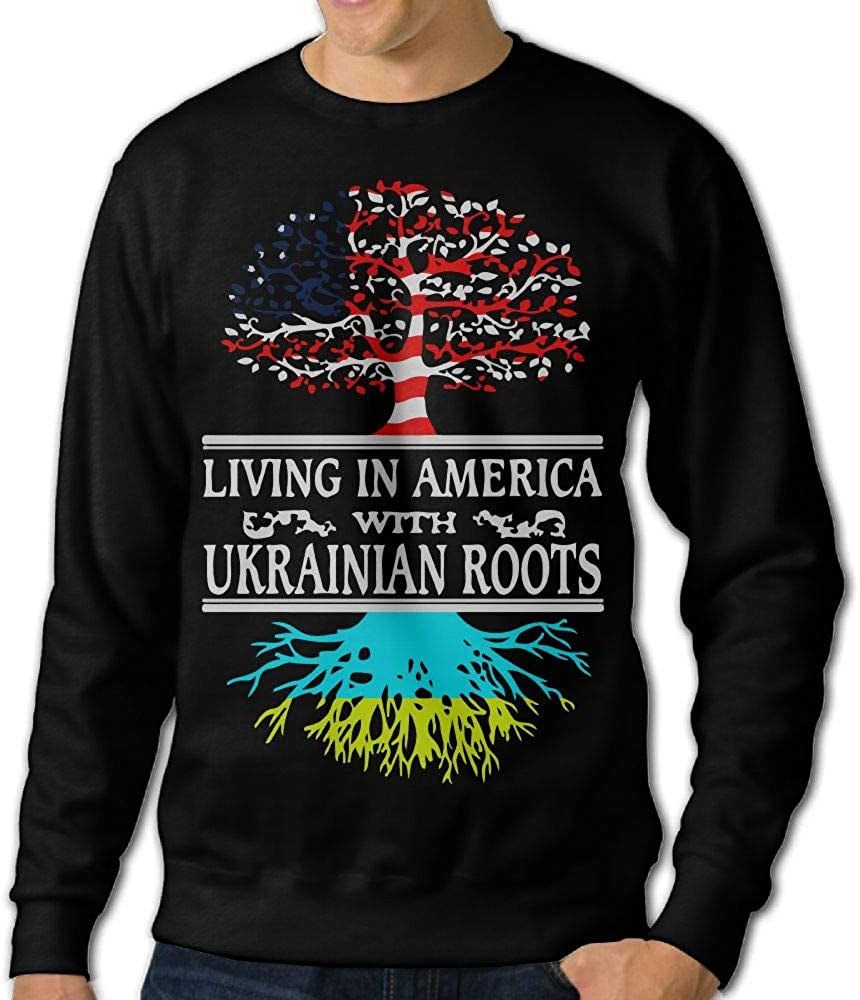 Jiongjiu/&256 Mens Living in America Ukrainian Roots Crewneck Long Sleeve EcoSmart Fleece Sweatshirt Sweaters