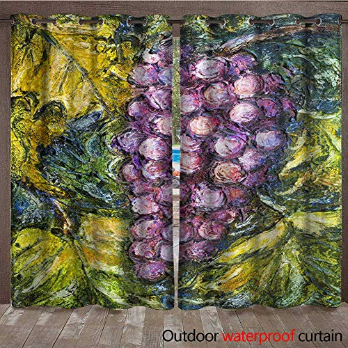 BlountDecor Outdoor Curtain Panel for Patio Ripe Pinot Grigio Grape Painting Waterproof CurtainW108 x L108