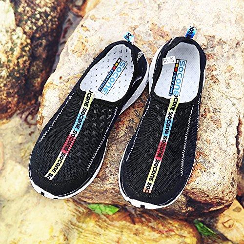 Creeker Zapatos Para Hombres Zapatillas De Malla Transpirable De Secado Rápido De Agua Negro2