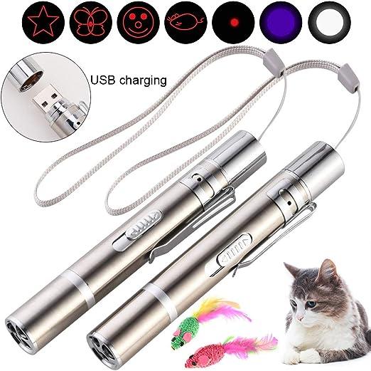 Faburo 2 Juguetes interactivos para Gatos + 2 Ratones de sisal, Juegos interactivos para Gatos con 7 en 1 función, USB Recargable, Herramienta de adiestramiento para Animales domésticos: Amazon.es: Productos para mascotas