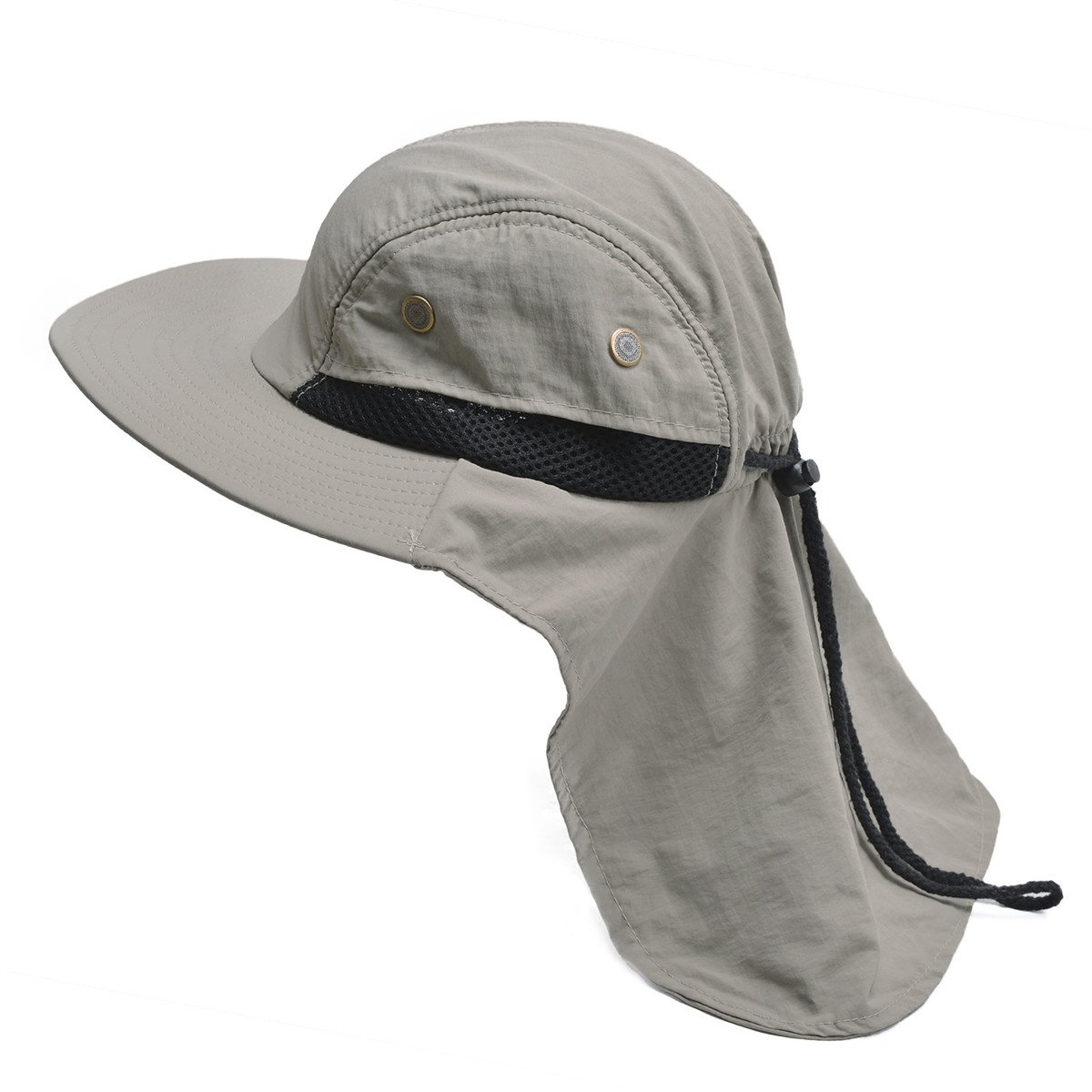 Lawliet Mens Wide Brim Outdoor Sun Neck Protection Fishing Flap Anti-UV Hat T202