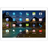 Tablet 3G Unlocked 10inch Android 5.1 Octa Core IPS Screen 4GB Ram 64GB Rom Dual Sim Card Slots Phone Call Tablet (Silver)