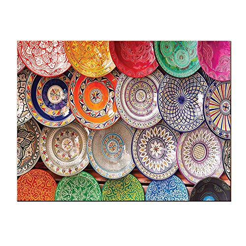 SATVSHOP Canvas Wall Art-16Lx12W-Boho Colorful Moroccan Traditional Arabic Handcrafted Colorful Plat Shot at Market in Marrak h Self-Adhesive backplane/Detachable Modern Decorative.