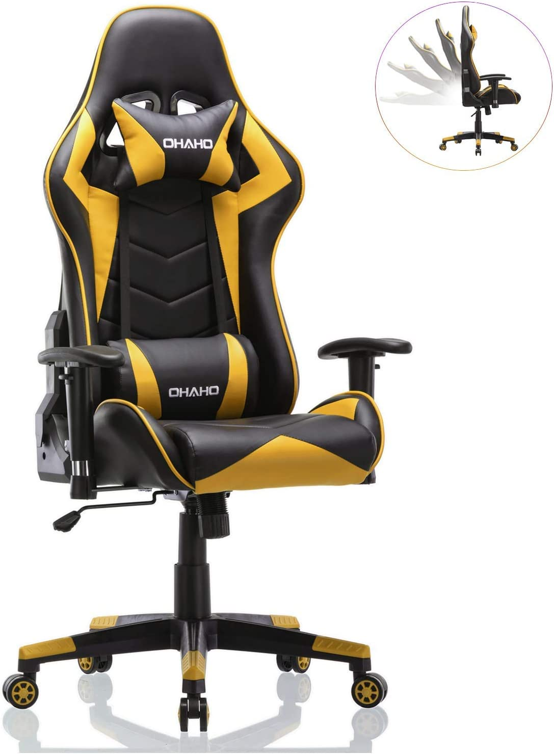 OHAHO Gaming Chair Racing Style Office Chair Adjustable Lumbar Cushion Swivel Rocker Recliner PU Leather High Back Ergonomic Computer Desk Chair with Retractable Armrest Yellow