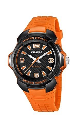Calypso K5635 - Reloj de Cuarzo, Correa de Caucho Color Naranja: CALYPSO: Amazon.es: Relojes