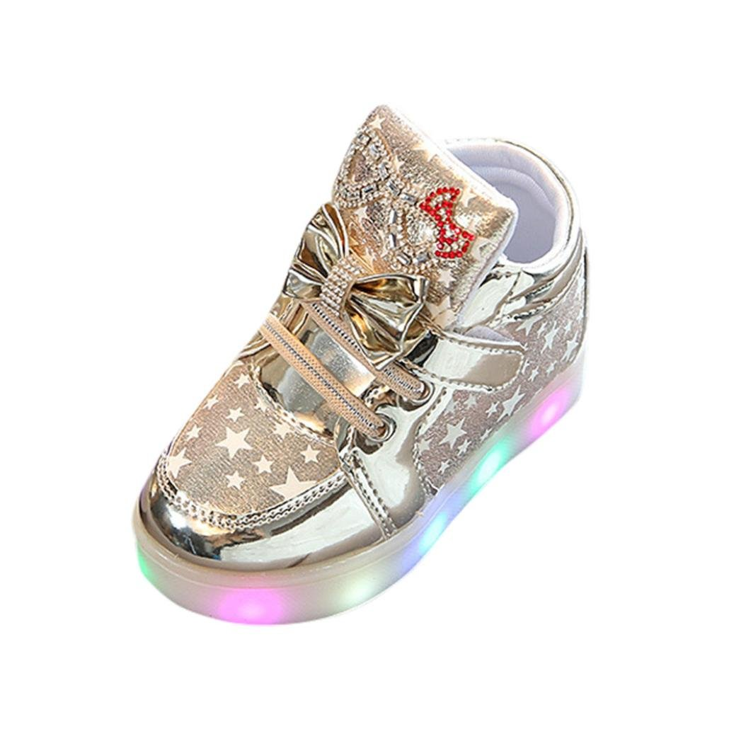 Sunbona Baby Boy's Girl's Heart LED Light Up Skate High-Top Sneakers Fashion Flashing Luminous Shoes