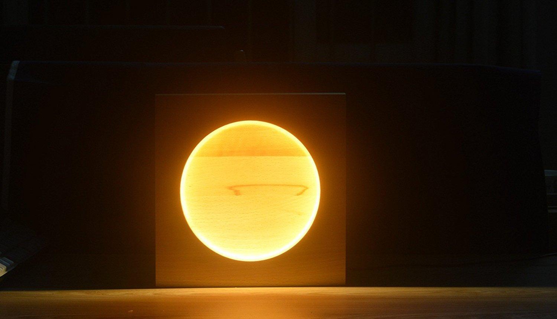 Yijiagou Handmade Wood LED Lamp 110-240V 7.5W Decoration Lamp Beech Wood Moon Lamp LED Night Light Gift USB Light for Bedroom (Full Moon)