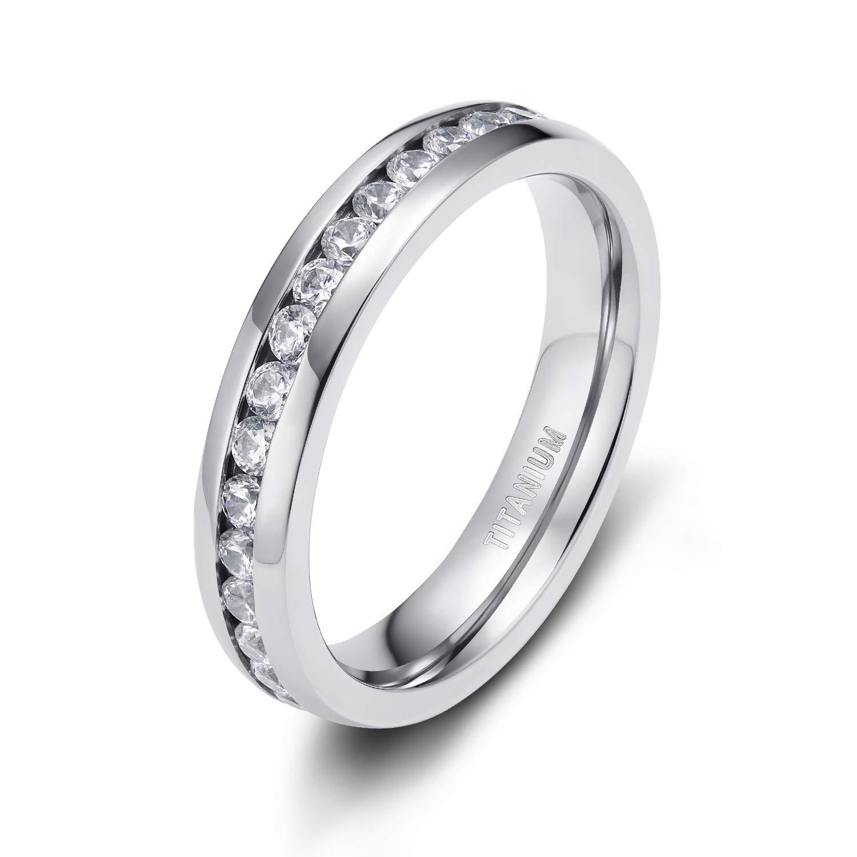 TIGRADE 4MM Eternity Titanium Ring Wedding Band with Cubic Zirconia (10)