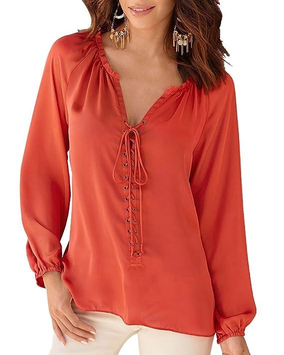 Blusas Escotadas Mujer Mangas Largas Cuello V Blusa Tops T Shirt: Amazon.es: Ropa y accesorios