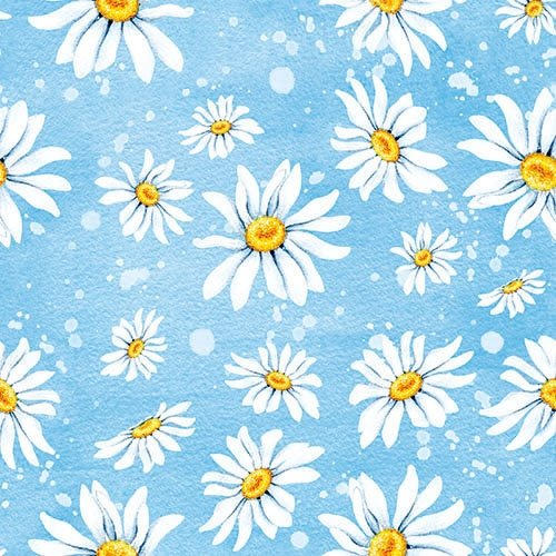 4 Paper Napkins for Decoupage - 3-ply, 33 x 33cm - Daisies Blue Tigers on the Loose