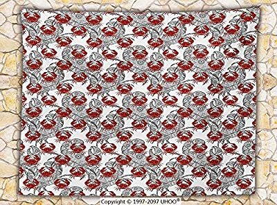 Crabs Decor Fleece Throw Blanket Sea Animals Theme Illustration of Crabs on White Background Pattern Print Throw Ruby and Grey