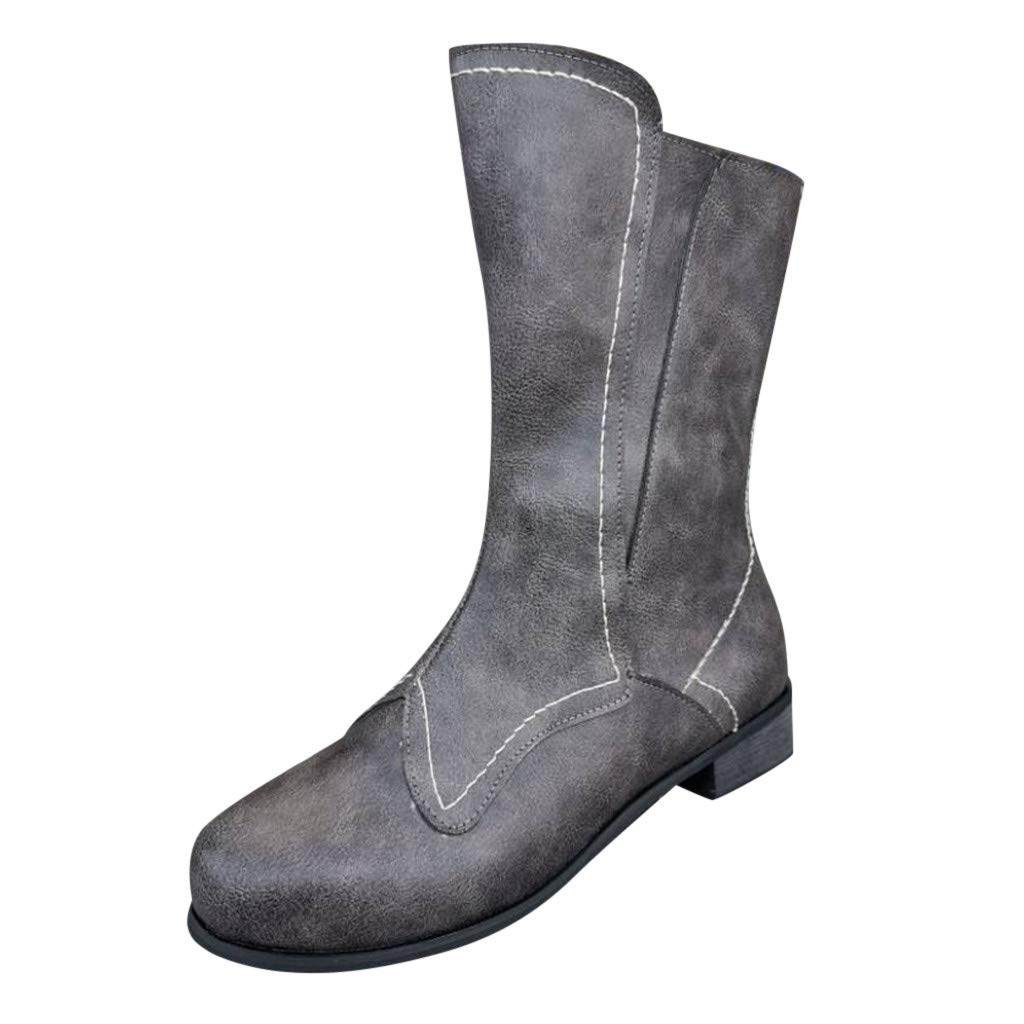 Yanvan Ankle High Heel Boot for Women Ladies Spring Autumn Casual Leather Boots Mid-Calf Shoes by Yanvan