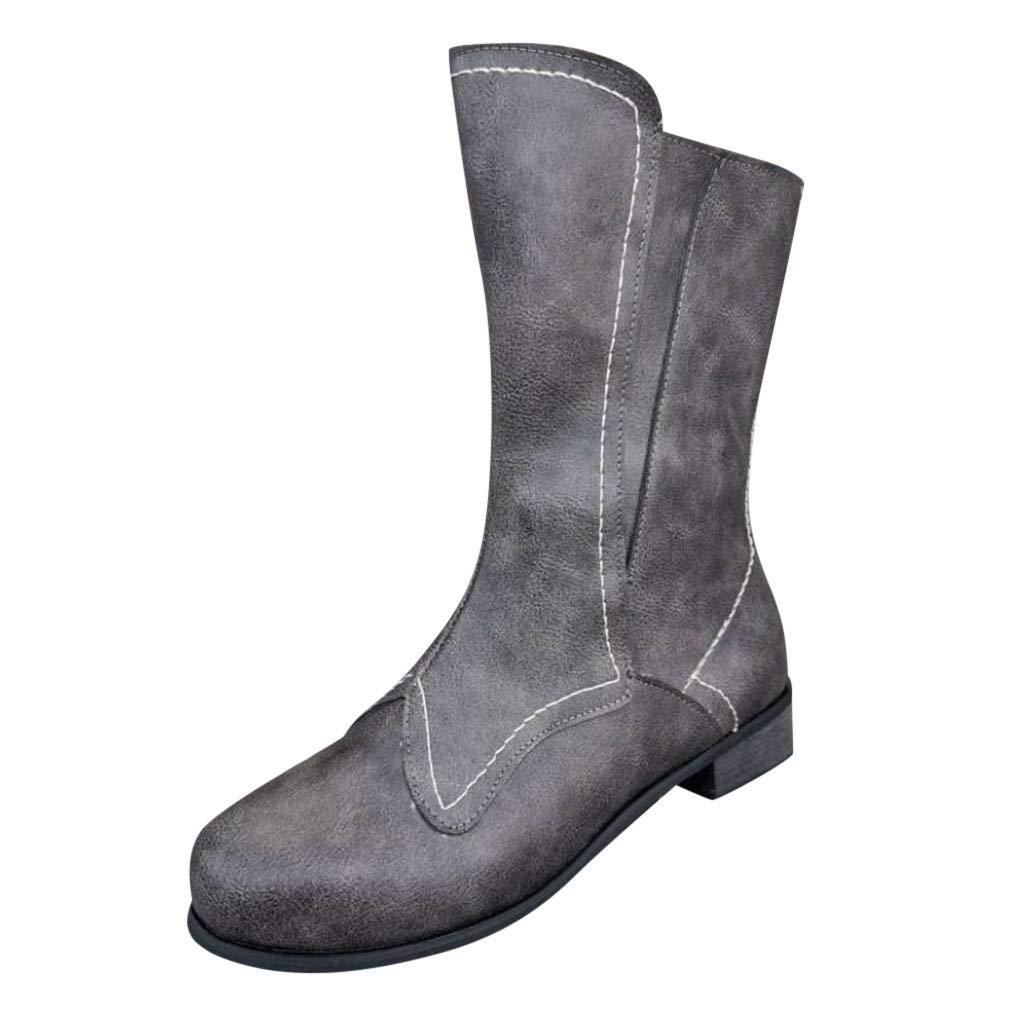 SSUPLYMY Damen Freizeit Mittlere Stiefel Mode Leather Freizeitstiefel Leichtgewicht Reißverschluss Wanderschuhe Square Low Heel Freizeitschuhe