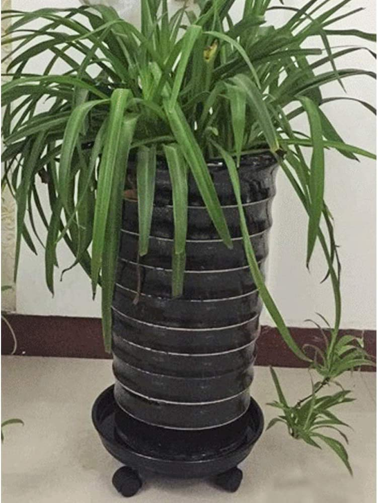 Amkoskr 1Pcs 27cm Black Plant Caddy Round Movable Planter with Easy Moving Caster Wheels Dolly Trolley Tray Pallet Outdoor Indoor Tree Flower Stand Planter