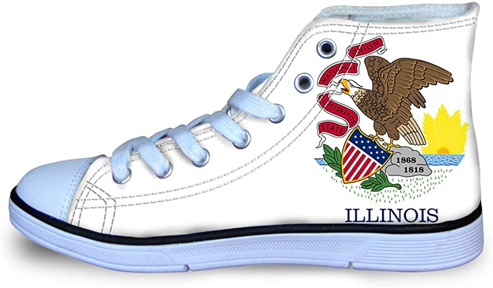 Canvas High Top Sneaker Casual Skate Shoe Boys Girls Illinois Flag