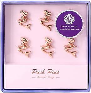 Rose Gold Thumb Tacks Decorative, Metal Mermaid Shape Creative Cute Large Marking Push Pins for Memo Board or Cork Board