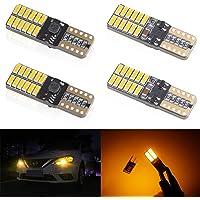 KaiDengZhe 4pcs Amber T10 W5W 168 194 501 Super Bright Wedge LED Car Bulbs Lamp 4014 SMD 24 LED CanBus Error Free 5W 12V…