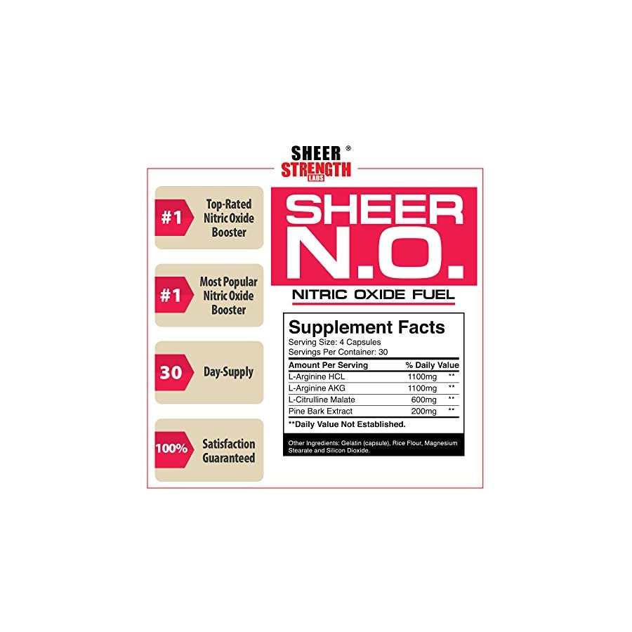 SHEER N.O. Nitric Oxide Supplement Premium Muscle Building Nitric Oxide Booster Sheer Strength Labs 120ct