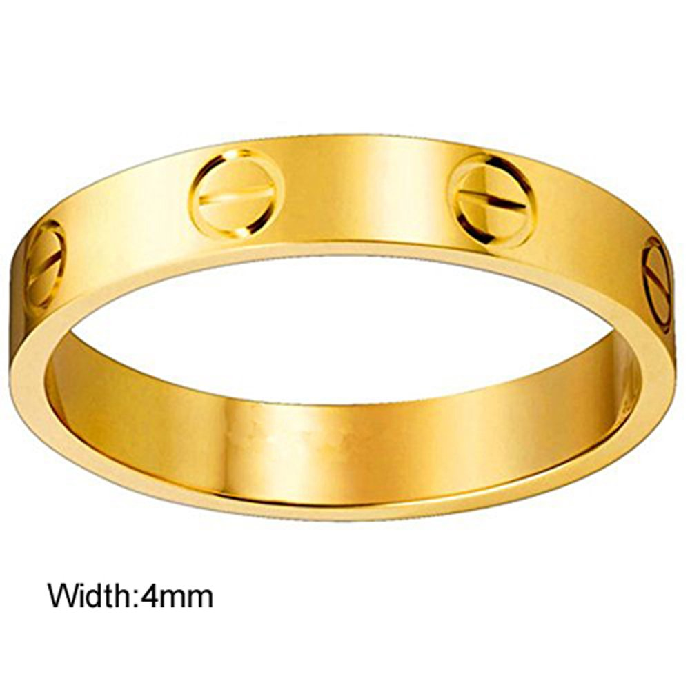 Dubeauty Love Ring Lifetime Titanium Stainless Steel Couples Wedding Engagement Anniversary Engraved Bands Gold Size 9 by Dubeauty (Image #2)