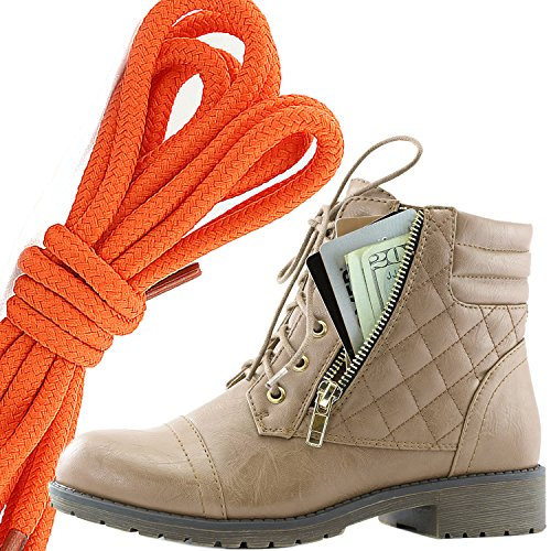 DailyShoes Womens Military Lace Up Buckle Combat Boots Ankle High Exclusive Credit Card Pocket, Orange Beige Pu