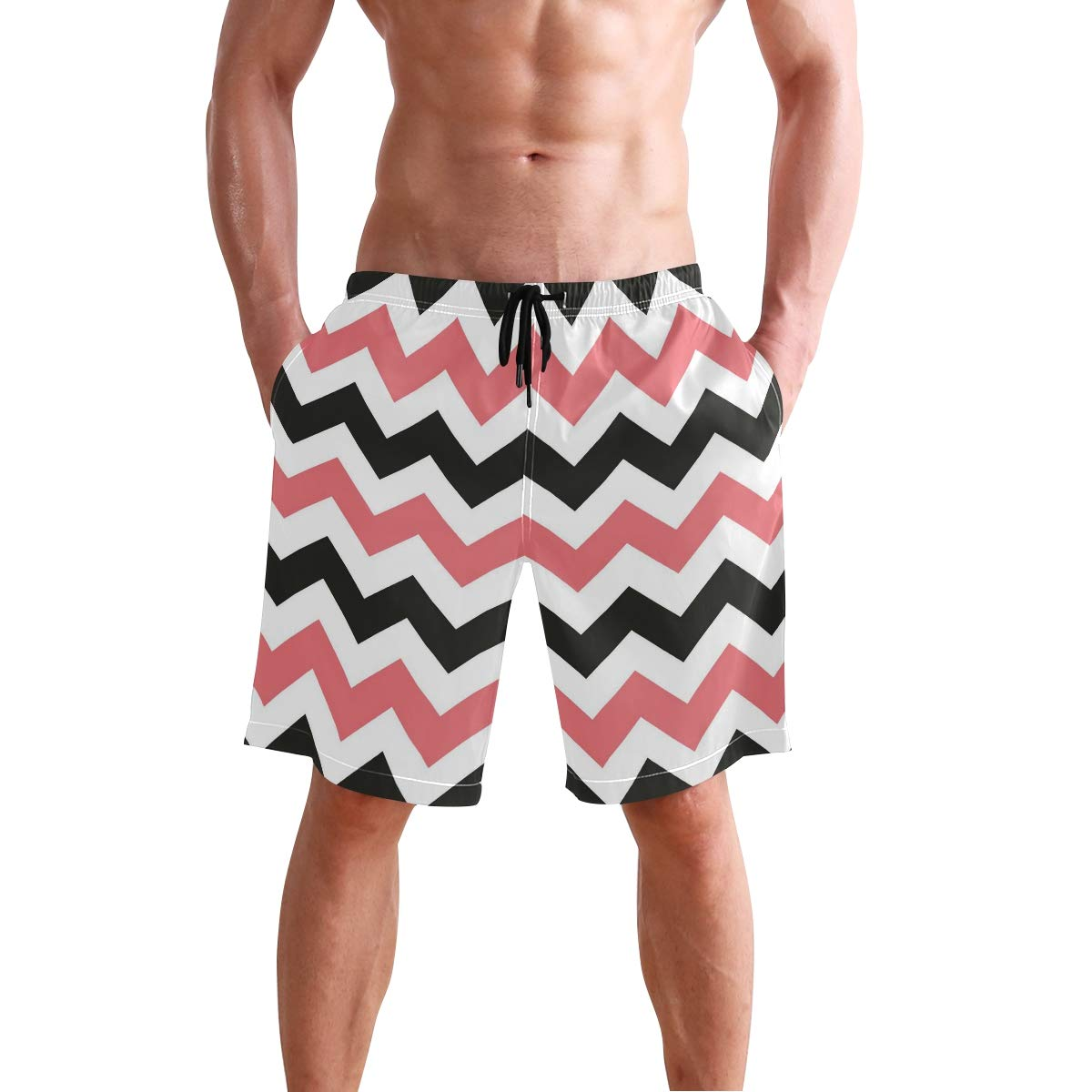 DEYYA Mens Awesome Chevron Swim Trunks Beachwear Summer Holiday Beach Shorts Quick Dry