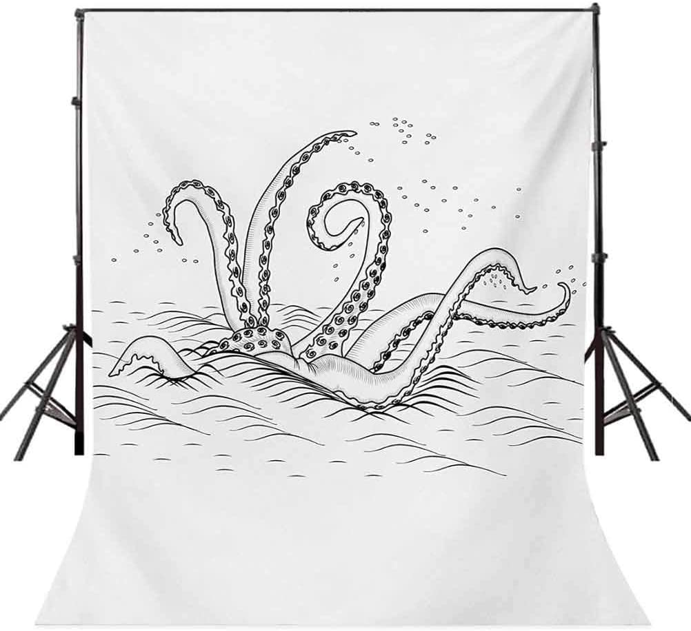 10x15 FT Photo Backdrops,Mythic Legendary Creature Tentacles on The Sea Wave Fantasy Sketchy Background for Kid Baby Boy Girl Artistic Portrait Photo Shoot Studio Props Video Drape Vinyl