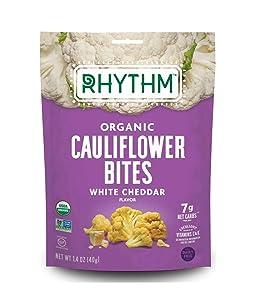 Rhythm Superfoods Crunchy Cauliflower Bites, White Cheddar, Organic & Non-GMO, 1.4 Oz, Vegan/Gluten-Free Vegetable Superfood Snacks