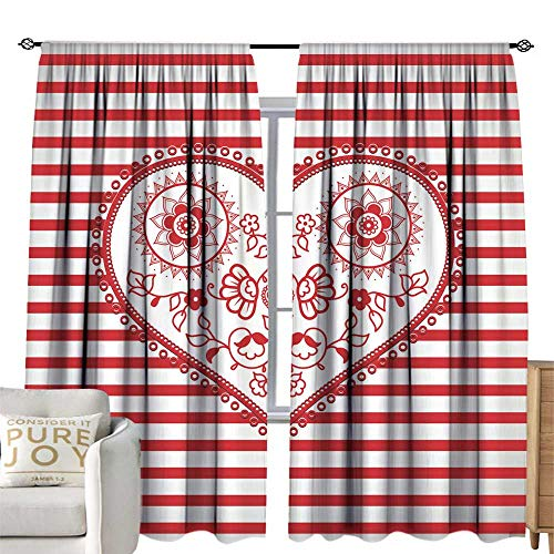 WinfreyDecor Thermal Insulated Drapes for Kitchen/Bedroom Valentine Heart Created from Golden Lines and White Valentine s Day Text with Many stars1 Darkening and Thermal Insulating 96W x 96L -