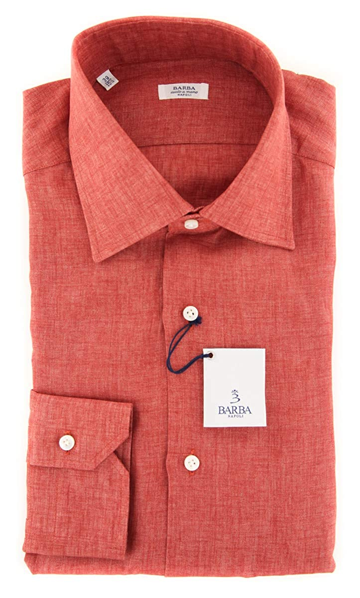 Barba Napoli Patterned Button Down Spread Collar Linen Slim Fit Dress Shirt