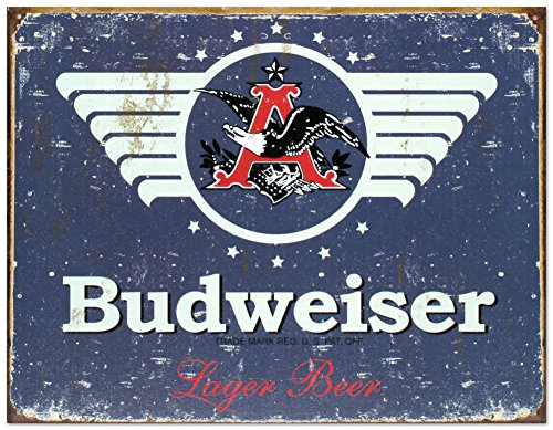 Budweiser 1936 Logo Blue Distressed Retro Vintage Tin Sign