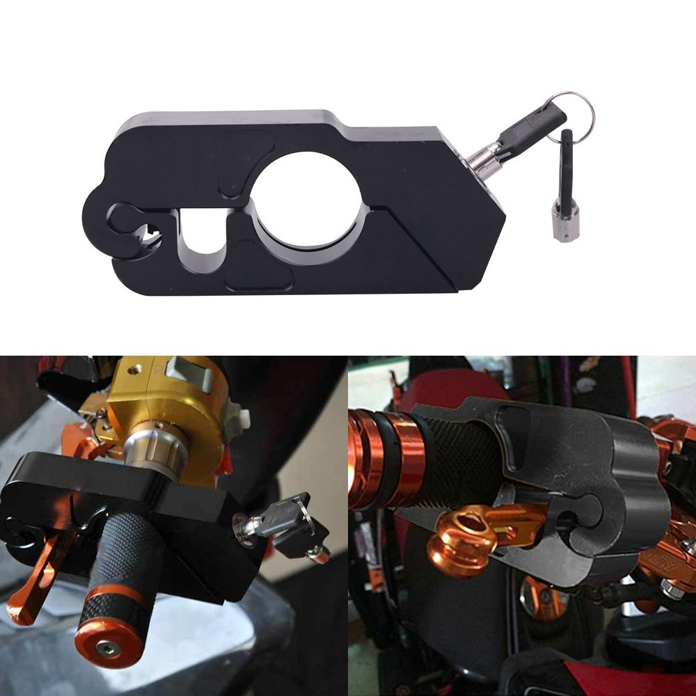 Motorcycle Lock - Universal Aluminum CNC Motorcycle Handle Throttle Grip Security Lock with 2 Keys to Secure a Bike, Scooter, Moped or ATV in Under 5 Seconds! Black Friday Christmas Birthday gift by KONDUONE