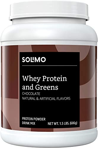 Amazon Brand – Solimo Whey Protein Greens Blend, Chocolate, 1.5 Pound