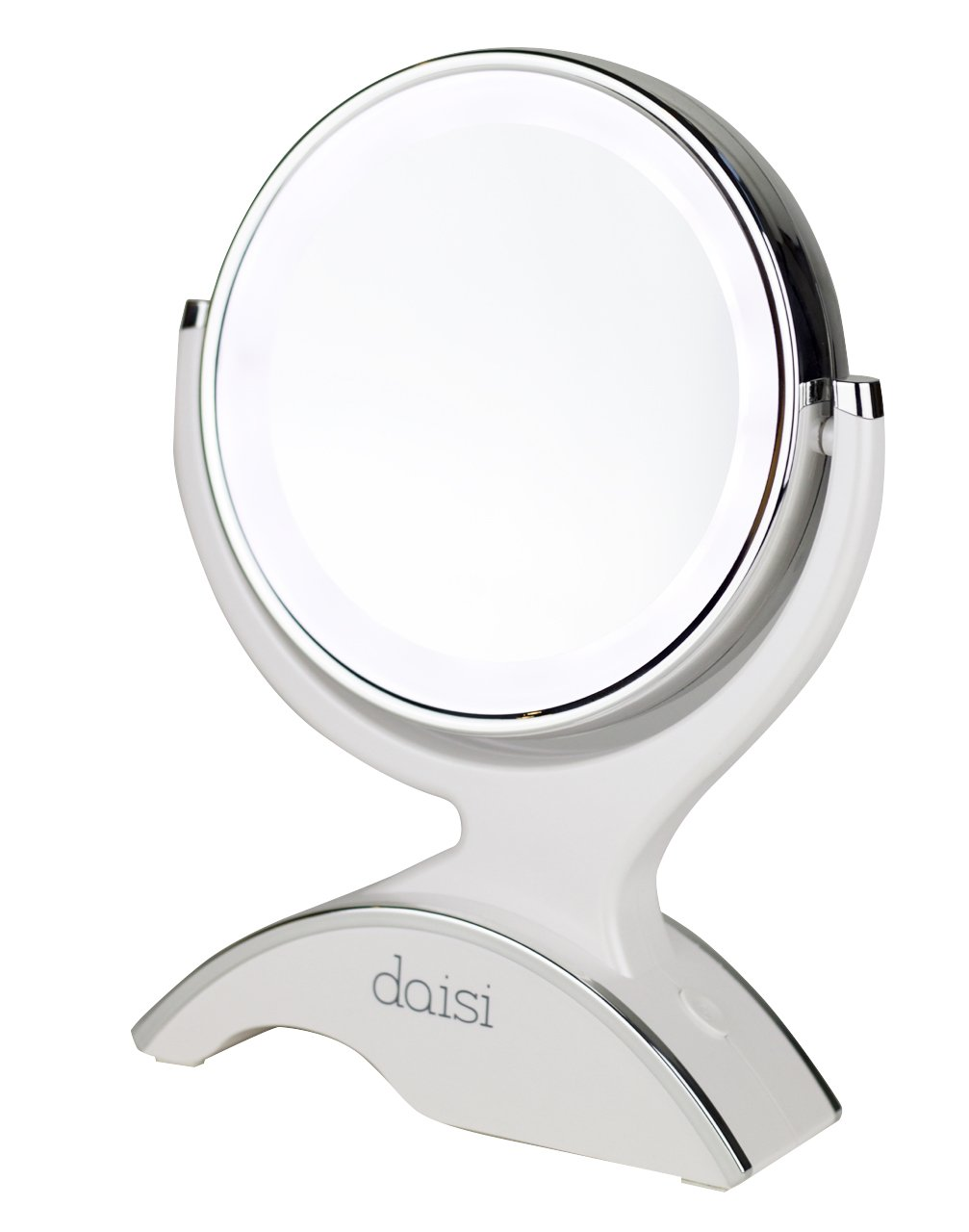 daisi Magnifying Lighted Makeup Tabletop Mirror with 360 Rotation  Standard 1X  7X Magnification LED