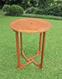 International Caravan TT-RT-015-IC Furniture Piece Royal Tahiti Outdoor Wood Bar Height Round Table, Brown