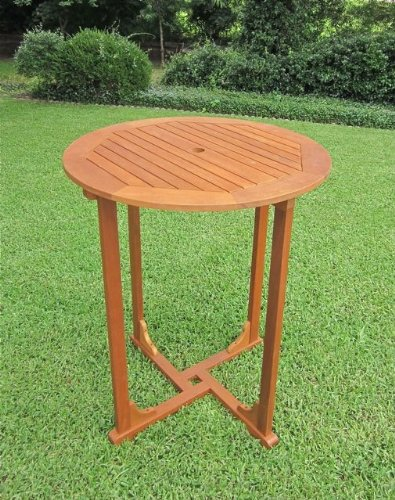 International Caravan TT-RT-015-IC Furniture Piece Royal Tahiti Outdoor Wood Bar Height Round Table, Brown by International Caravan