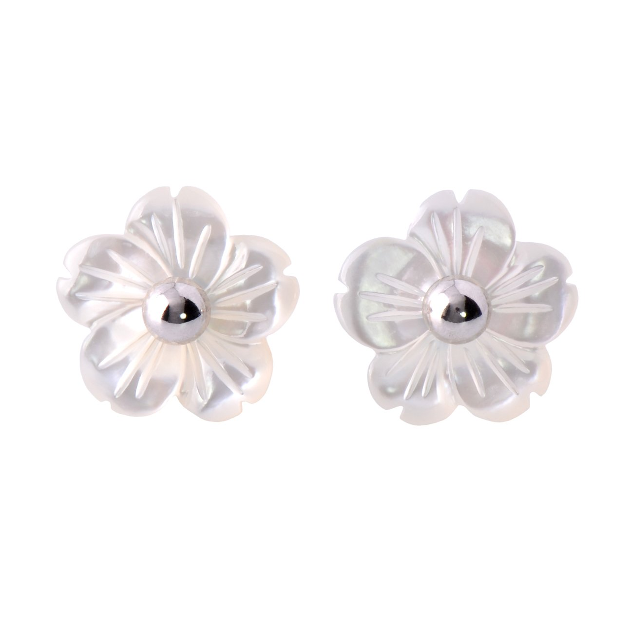 Paialco Mother of Pearl Flower Shape Earring Jackets Ball Silver Tone 4MM