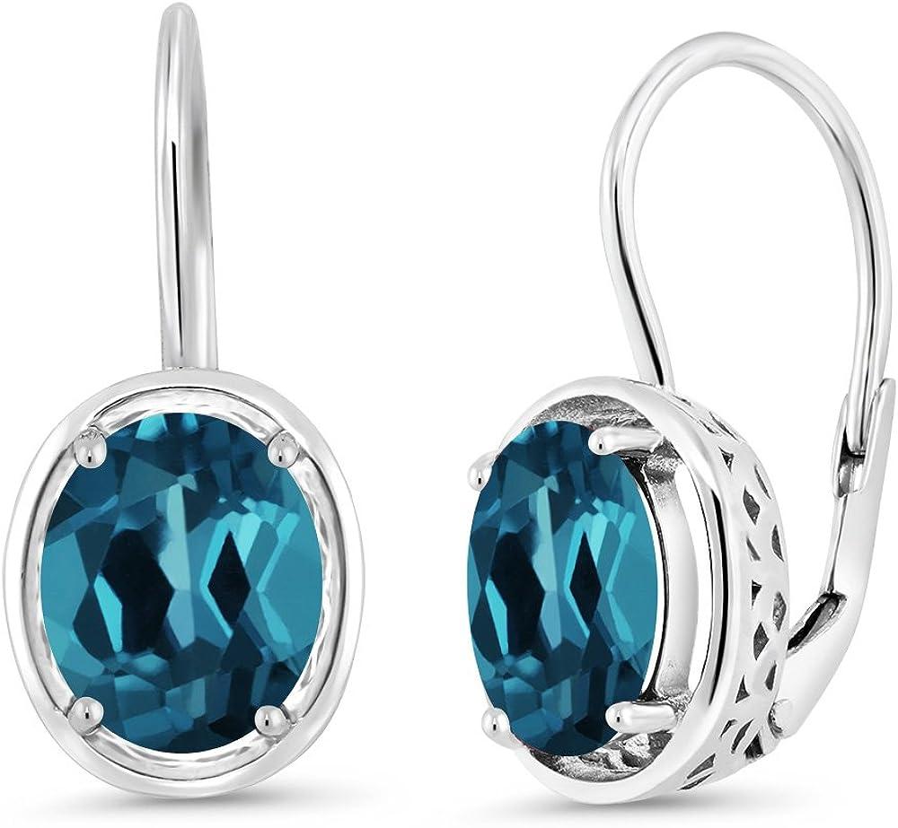 Gem Stone King London Blue Topaz 925 Sterling Silver Dangle Earrings 3.60 Cttw Oval Gemstone Birthstone