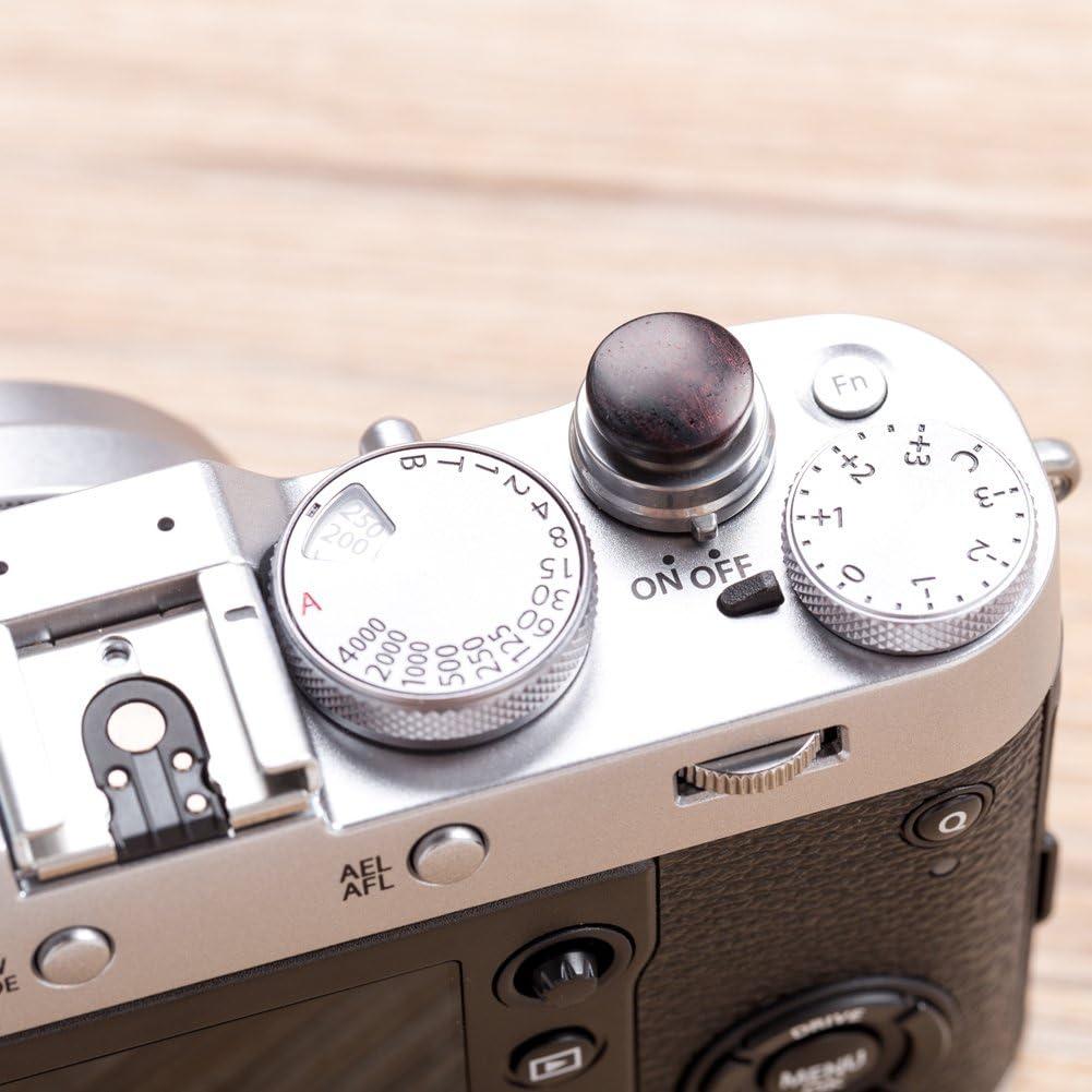 VKO Hand-Made Soft Shutter Release Button Compatible with Fujifilm X-T4 X-T30 X-T3 X100F X-T20 X-E3 X-PRO2 X30 X-T2 M6 M7 M8 M9 M10 Camera 12mm Convex Black Wooden Brass 1 PCS Wood Grain Random