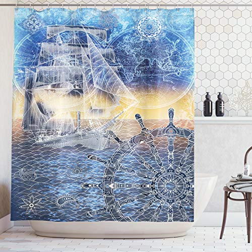 Ambesonne Home Decor Collection, Nautical Print with Mandala Patterns of Explorer Ship Map of the World Steering Wheel Sails Ocean, Polyester Fabric Bathroom Shower Curtain, 84 Inches Extra Long, Blue