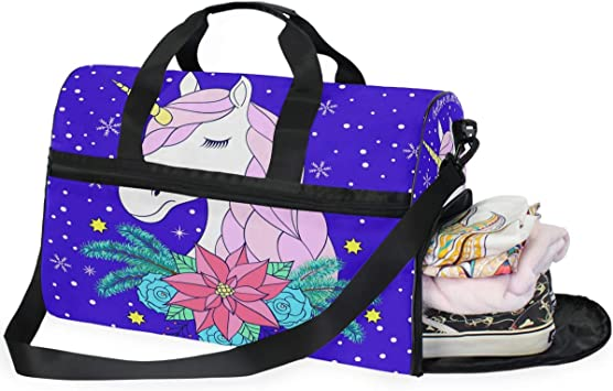 Decorate Unicorn Sports Gym Bag with Shoes Compartment Travel Duffel Bag for Men and Women