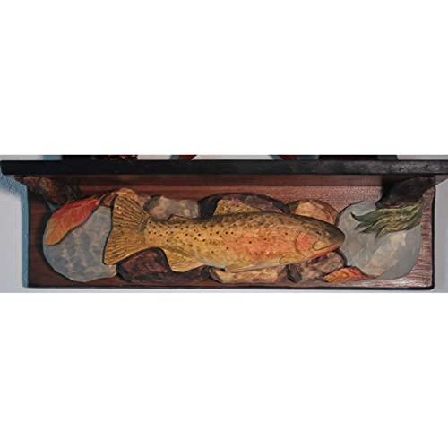 Amazon Com Cutthroat Trout Hand Carved Wood Shelf Rustic