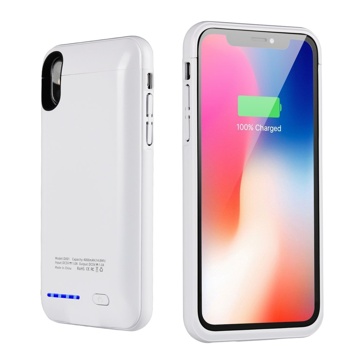 "iPhone X Battery Case 4000mAh,i.Valux Slim Extended iPhone X Charger Case Rechargeable Power Bank Battery Charging Case with Magnetic Mount Kickstand for iPhone X (5.8""White)"