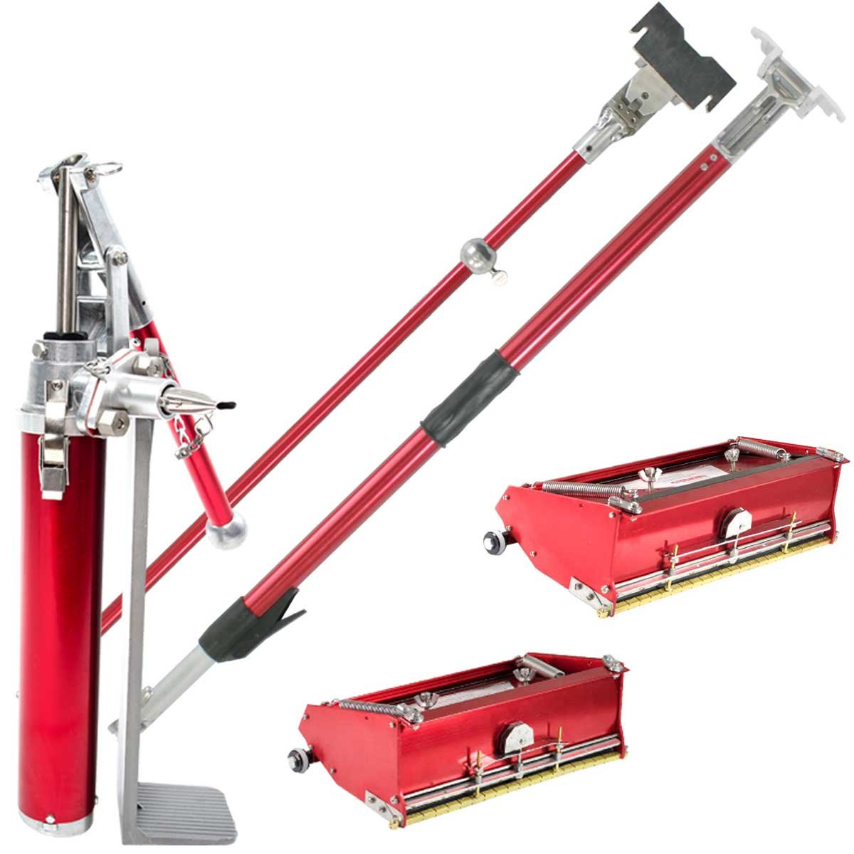 Level5 Drywall 10'' / 12'' Flat Box Finishing Combo w/ Extendable Handle, Fixed Handle and Filler Pump