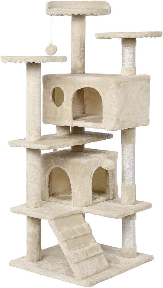 Yaheetech Árbol para Gatos Rascador Casa para Gatos Escalera Juguete de Sisal Altura 130 cm: Amazon.es: Productos para mascotas