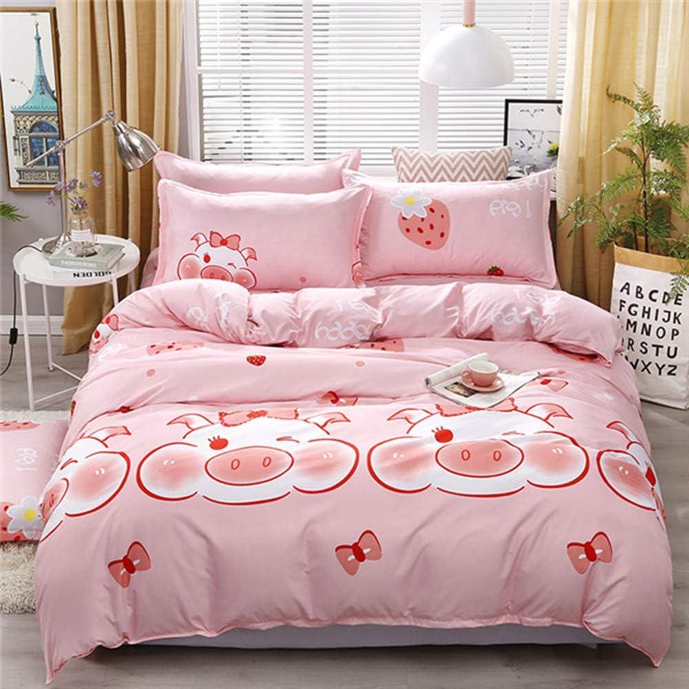 Amazon.com: BERTERI Cute Pig Printed Pink Bedding Sets for Girls