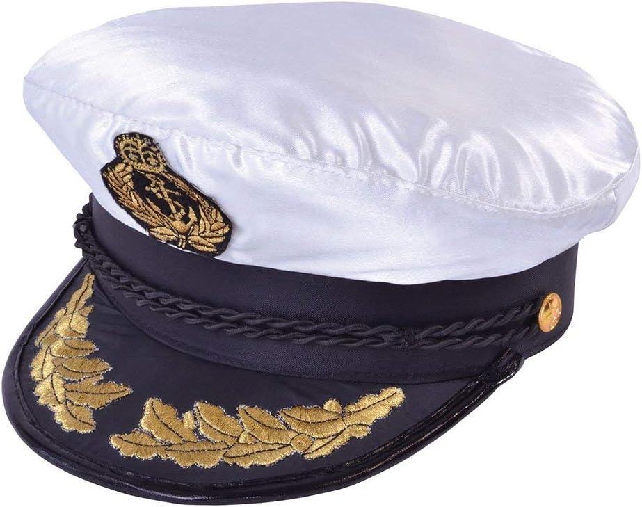 ADULT CAPTAIN HAT SATIN Yacht Boat Navy Sailor Sea Marine Fancy Dress Costume UK