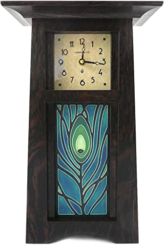 American Made Craftsman Style Mantel Shelf Clock with Peacock Feather Art Tile, Oak Wood with Slate Finish, 15 Tall